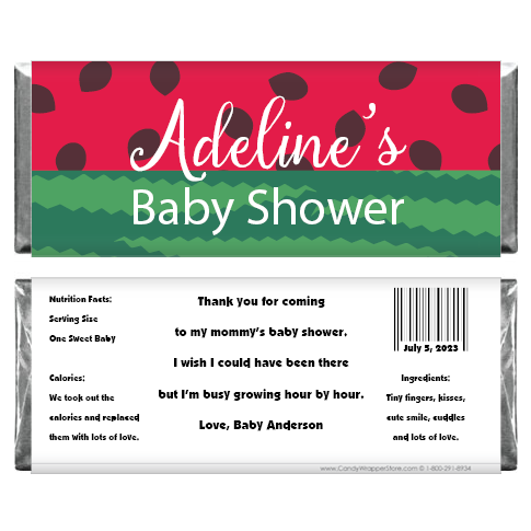 Watermelon Baby Shower Candy Bar Wrappers