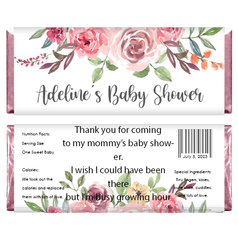 Sweet Rustic Floral Baby Shower Candy Bar Wrappers BS299