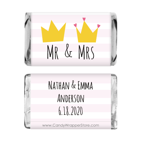 Miniature Mr and Mrs Crowns Wedding Candy Bar Wrappers MINIWA367