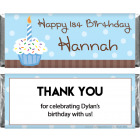 Cupcake Birthday Candy Bar Wrappers BD288BLUE