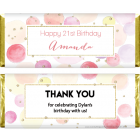 Watercolor Dots and Glitter Birthday Candy Bar Wrappers BD391