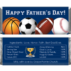 Fathers Day Sports Theme Candy Bar Wrapper FD218
