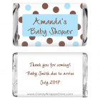Miniature Baby Shower Blue and Brown Dots Candy Bar Wrapper MINIBS229b