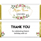 Chic Floral Frame Quinceanera Candy Bar Wrappers QUIN211