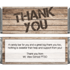 Wood Grain Thank You Candy Bar Wrapper TY204