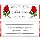 Wedding Large Red Roses Candy Bar Wrapper WA207