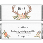Wedding Antlers and Initials Candy Bar Wrappers
