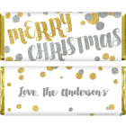 Merry Christmas Gold Glitter Candy Bar Wrapper XMAS235
